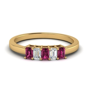 5 Stone Baguette Band With Pink Sapphire