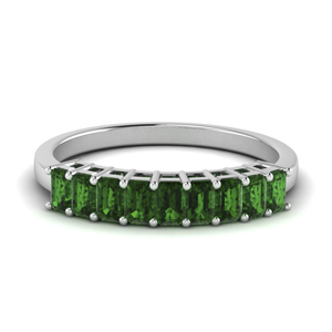 Emerald Baguette Wedding Bands