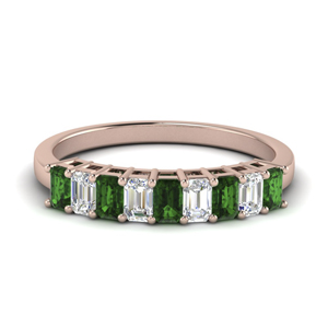 Wedding Band With Emerald Gemstone
