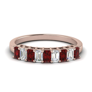 9 Stone Baguette Band With Ruby