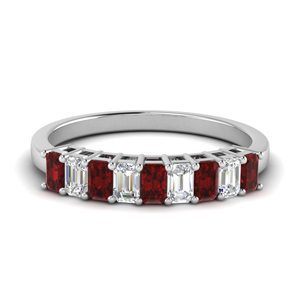 Basket Prong 9 Stone Baguette Band