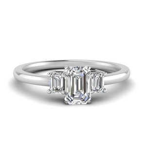Emerald Cut Delicate 3 Stone Ring
