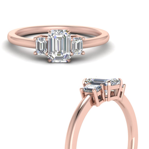 14K Rose Gold Delicate 3 Stone Ring
