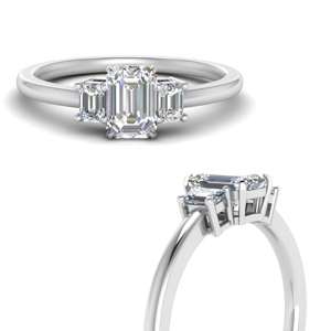 Delicate Emerald Cut Three Stone Ring