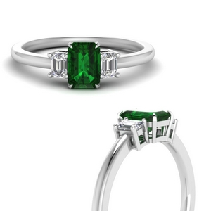 Emerald Three Stone Wedding Ring