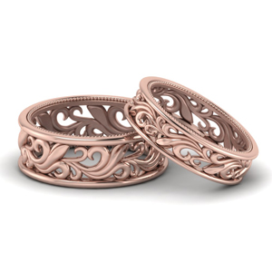 14K Rose Gold Filigree Couples Band