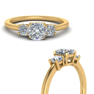 Gold Cushion Cut 3 Stone Ring