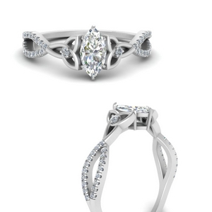 White Gold Marquise Shaped Side Stone Rings