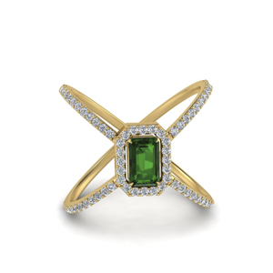 Emerald Halo X Pattern Wedding Ring