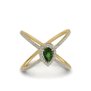 Emerald Pear Halo X Ring