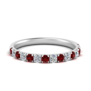 Ruby Pave Scalloped Wedding Band