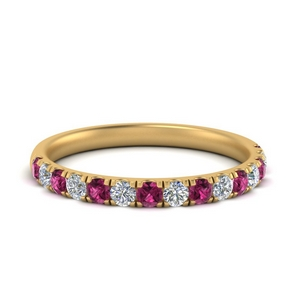 Pink Sapphire Pave Womens Band