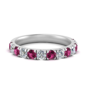 Pink Sapphire Pave Wedding Band