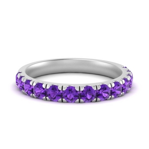 Purple Topaz Wedding Band