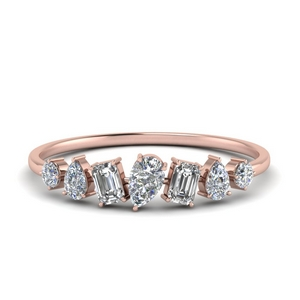 Fancy Shaped Diamond Band 14K Rose Gold