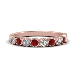 Bezel Set Diamond Band With Ruby