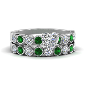 Bezel Set Emerald Ring And Band