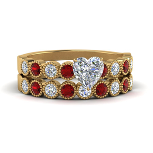Bezel Ruby Wedding Ring Set