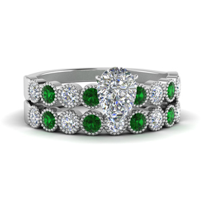 Pear Shaped Emerald Wedding Sets