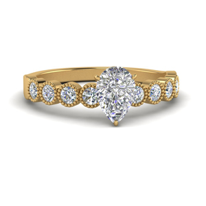 Bezel Set Pear Diamond Antique Ring