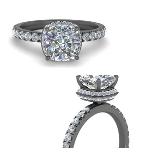 Cushion Cut Hidden Halo Diamond Ring
