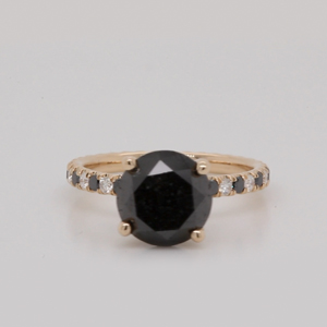 Pave Black Diamond Engagement Ring