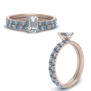 French Pave Eternity Wedding Set