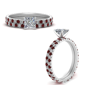 Ruby Eternity Wedding Ring Set