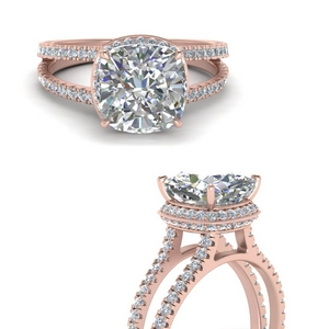 Under Halo Split Band Engagement Ring