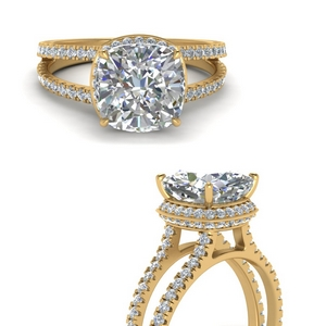 Under Halo Split Band Diamond Ring