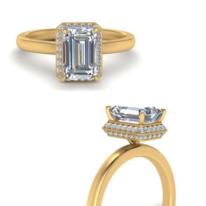 Emerald Cut Pave Wrap Halo Ring