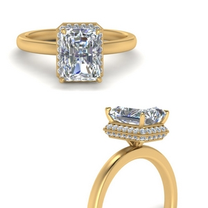 Radiant Cut Pave Wrap Halo Ring