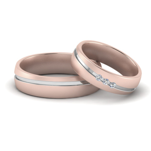 Three Stone Couple Band Rings