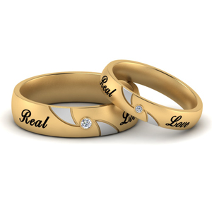 Two Tone Engraved Couples Band