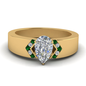Wide Band Ring With Emerald