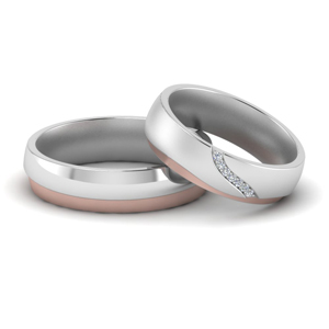2 Tone Wedding Rings For Couple