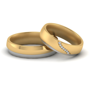 Couples 2 Tone Wedding Bands