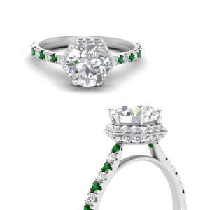 Emerald Hidden Halo Engagement Ring