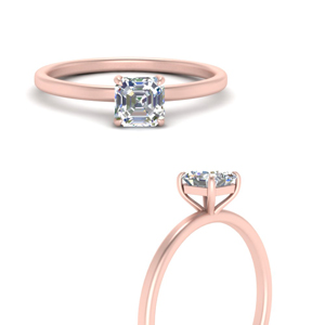 Asscher Cut Thin Solitaire Ring