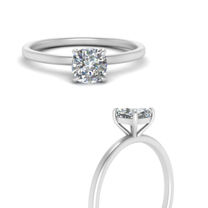 Single Diamond Cushion Cut Ring