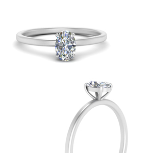 High Set Oval Diamond Ring