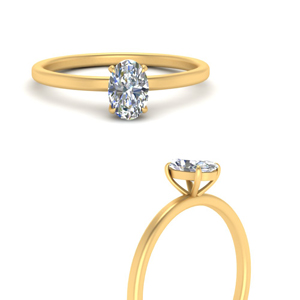 Thin Solitaire Oval Engagement Ring