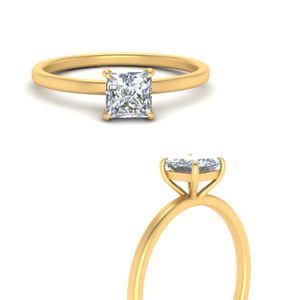 Thin Gold Band Engagement Ring
