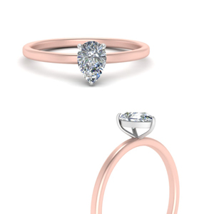 2 Tone Teardrop Solitaire Ring