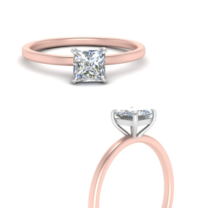 2 Tone Thin Solitaire Ring
