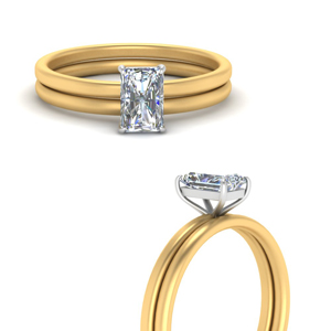 Radiant Engagement Ring With Thin Band
