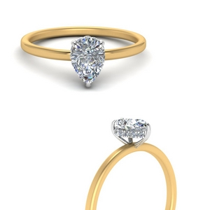 Under Halo Pear 2 Tone Petite Ring