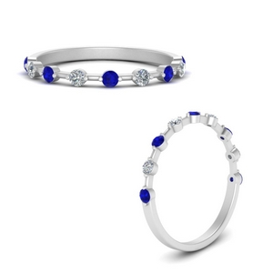Thin Stack Band With Sapphire