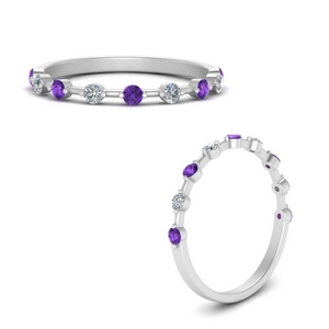 Stackable Band With Purple Topaz