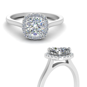 Simple Cushion Cut Halo Diamond Ring